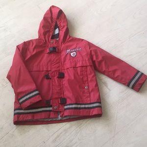 Boy's fire truck rain coat